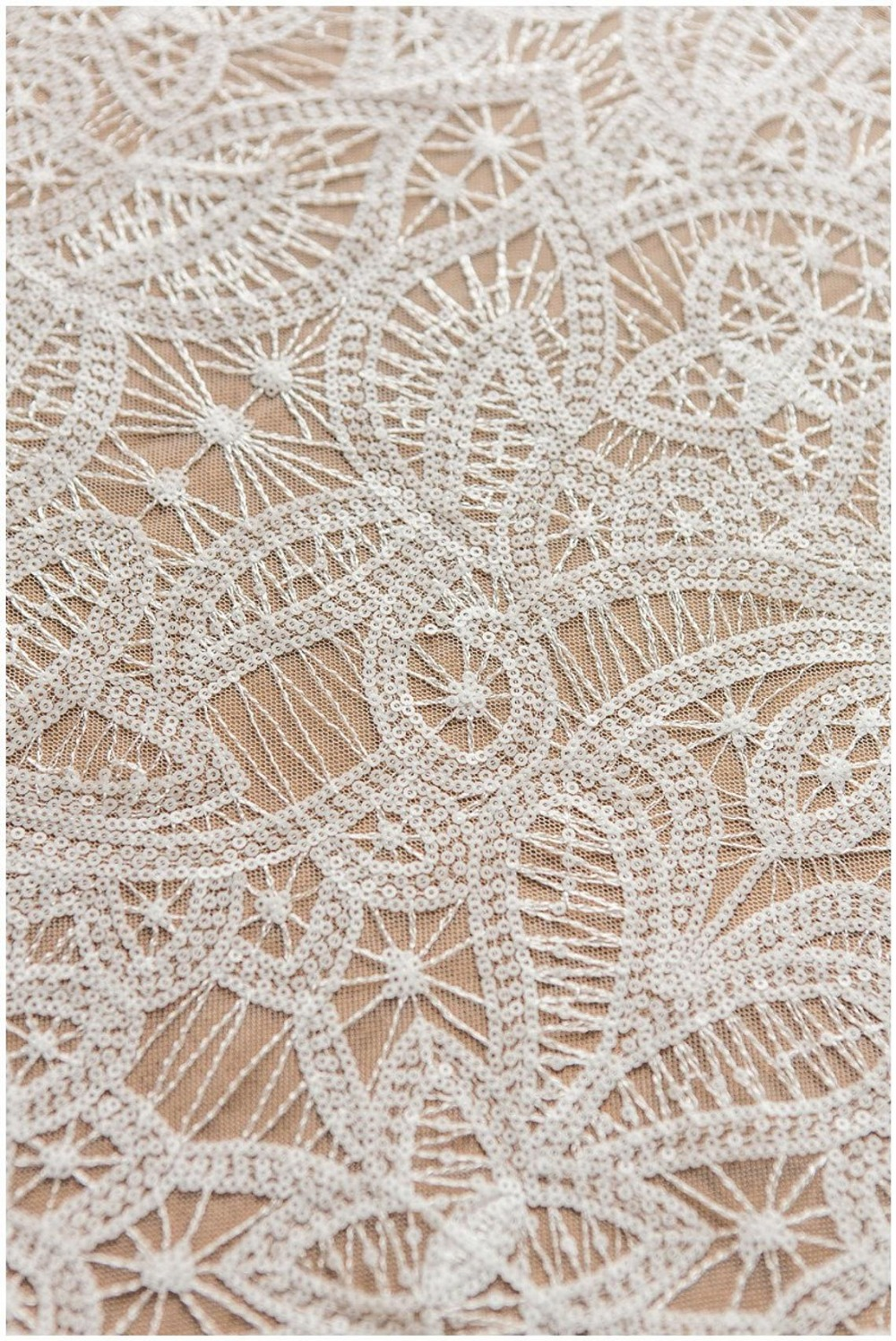 1 yard Modern geometric lace fabric with off white sequins, bridal fabric, wedding dress sequins