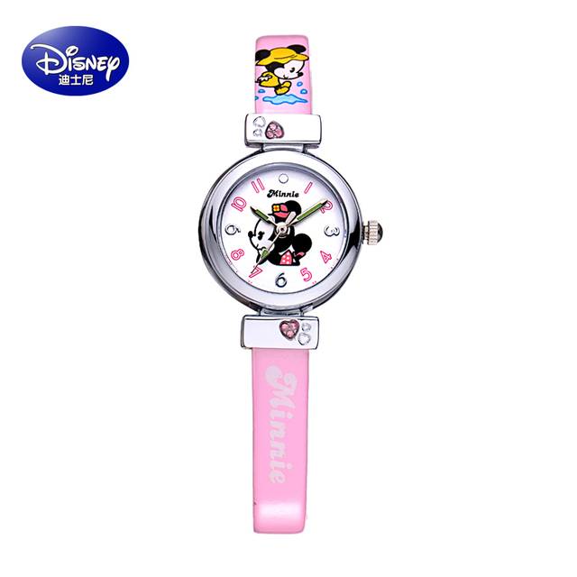 2016 Disney New Children Cute Mickey Cartoon Watches Fashion Kids Student Cute Leather Sports Analog Wrist Watches Relojes