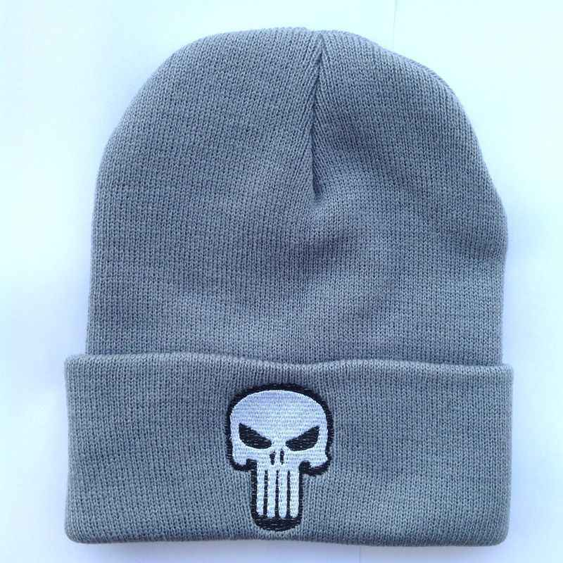 4268e43c Embroidery Black Skulls Warm The Punisher Cool Beanie Men Skeleton  Justiceiro Castigador Knitted Winter Hat Adult Teenagers Boy