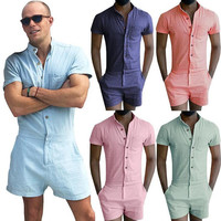 2017 Direct Selling Sale Stretch Jumpsuit Male Short Sleeve Rompers Overalls Mens Summer Single Breasted Tops Zipper Trousers