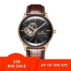 Новый Риф Тигр/RT роскошные розовое золото часы для мужчин автоматические механические наручные часы Tourbillon часы с коричневым кожаный ремешо...