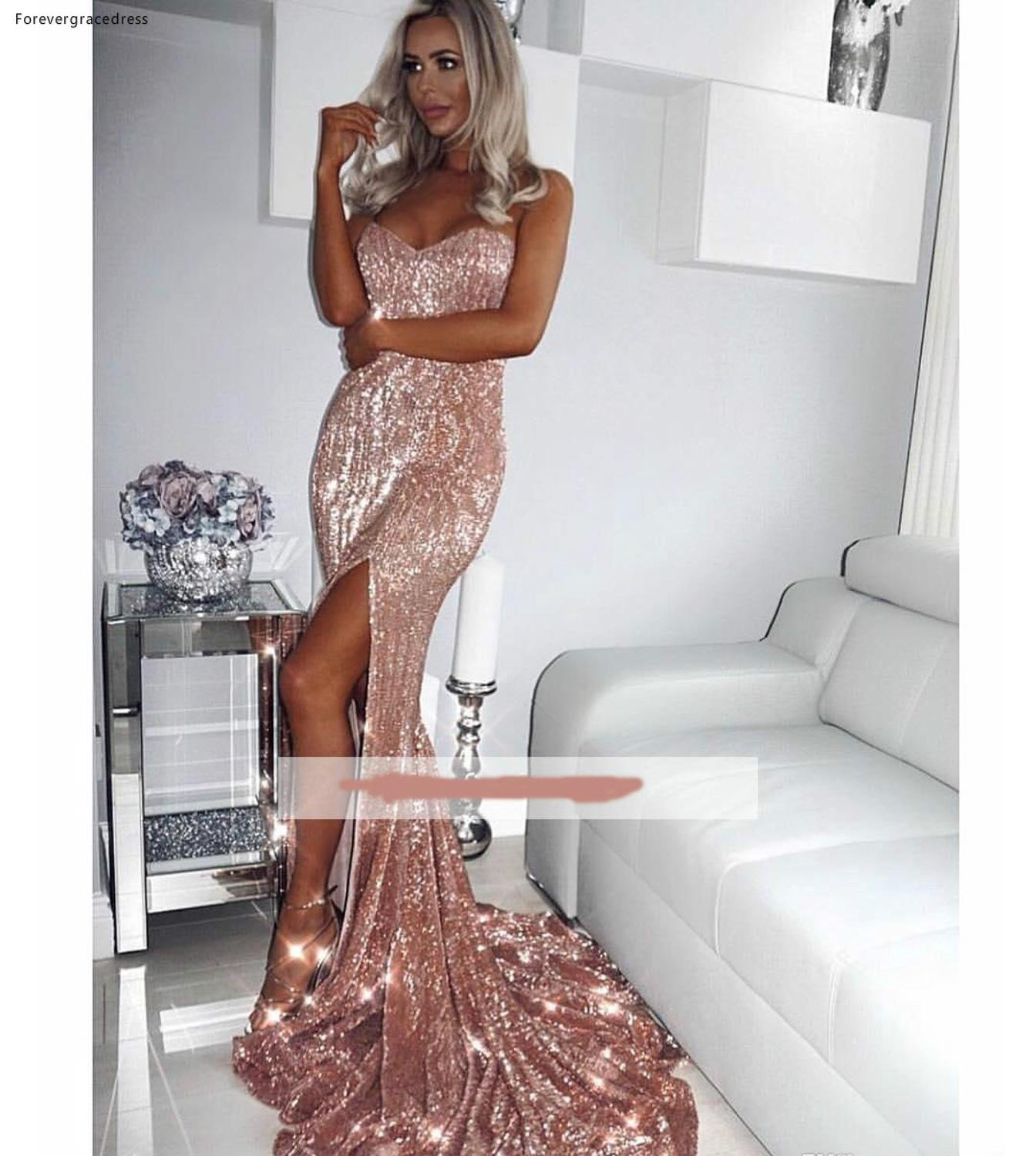2019 Rose Gold   Prom     Dress   Mermaid Split Sequins Pageant Holidays Graduation Evening Party Gown Custom Made Plus Size