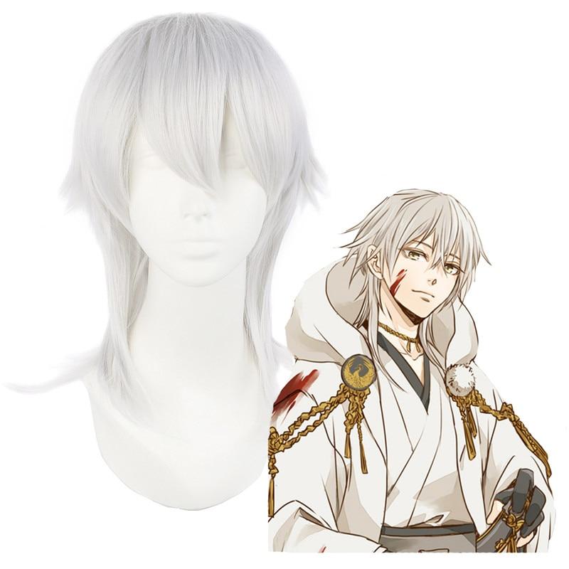 Tou Ken Ran Bu Tsurumaru Kuninaga Anime Costume Cosplay Wig 50cm Silver Gray Wigs Halloween Costumes Hair Men Wig