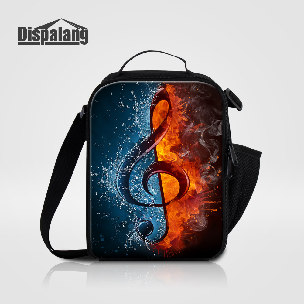 Dispalang Women Fashion Portable Insulated Lunch Bag Kids Cooler Lunch Box Bag 3D Lifelike Musical Note Prints Custom Lunch Bags