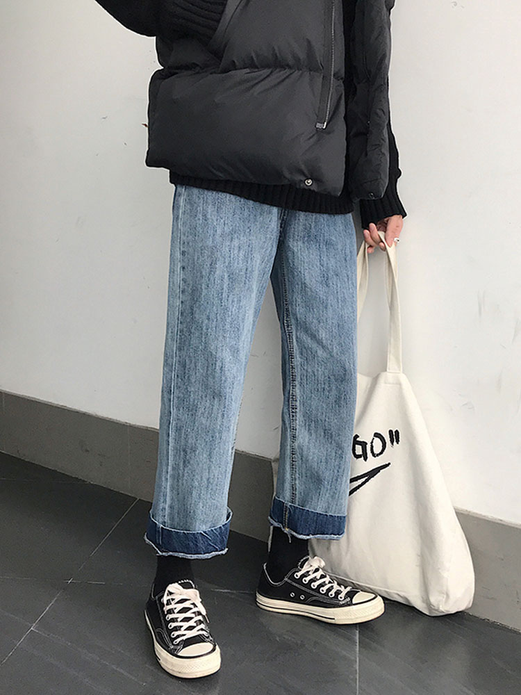 Men Vintage Fashion Loose Straight Jeans Male Jeans Harem Pants Lovers Student Trousers-in Jeans from Men's Clothing    1