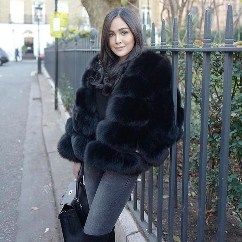 2019  New Women Warm Real Fox Fur Coat Short Winter Fur Jacket Outerwear Natural Blue Fox Fur Coats For Women Hot Promotion