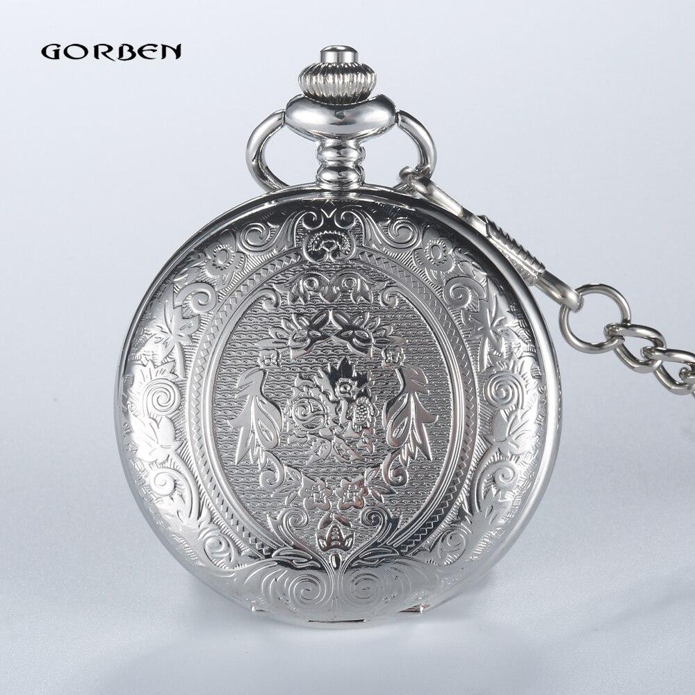 где купить Retro GOBREN Roman numerals Silver Plated 2 Sides Carving Elegant Pocket Watch Mens Analog Quartz Fob Waist Women Luxury Watch по лучшей цене