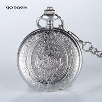 Retro GOBREN Roman Numerals Silver Plated 2 Sides Carving Elegant Pocket Watch Mens Analog Quartz Fob