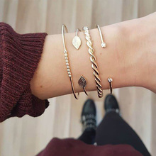 цена Fashion Boho Crystal Chain Bracelets Women Golden Hollow Geometric Round Leaves Charm Link Cuff Bracelet Set Female Jewelry Gift онлайн в 2017 году