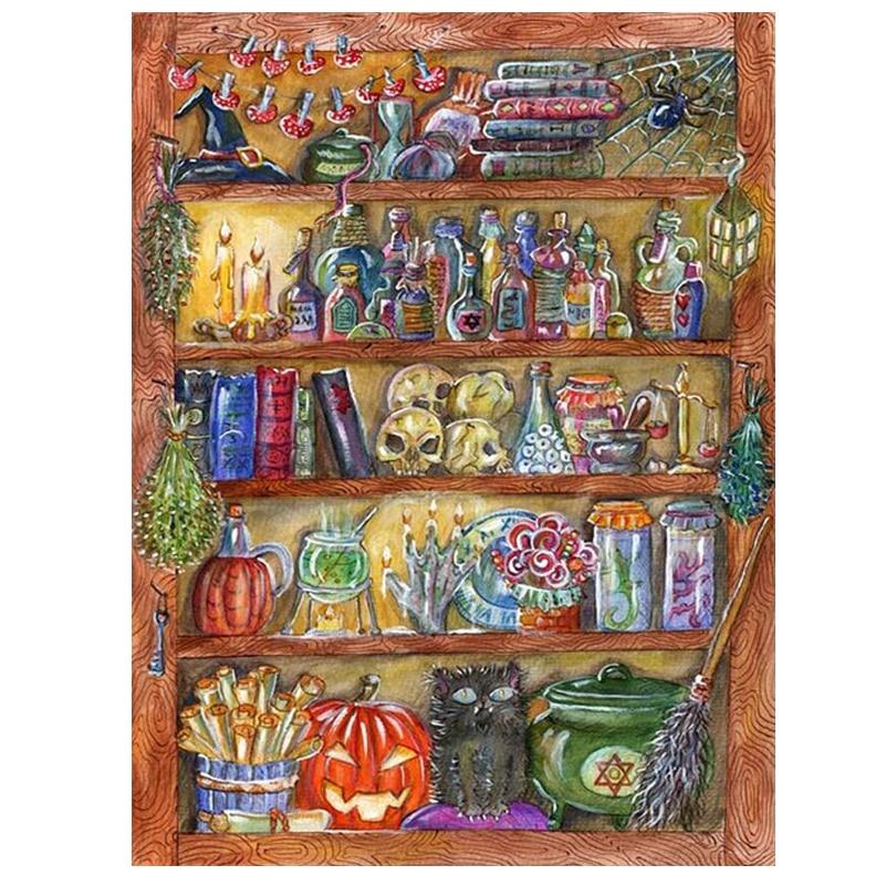 5d Diy Diamant Schilderen Kruissteek Halloween Boekenplank Home Decor Borduren Kralen Volledige Vierkante Mozaïek Muursticker Js2885 Bekwame Vervaardiging