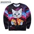 3D Printed Pullover Sweatshirt Winter Autumn Animal Cat Eat Pizza 3D Print Hoodies Pullover Sweatshirt for Men Hoodies