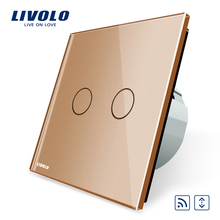 Livolo EU Standard Touch House Home Led Remote Curtains Switch VL-C702WR-13 Golden Crystal Glass  Mini Remote Is Not Included