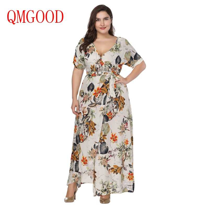 Big Size Beach Maxi Dress Women Fat MM Vacation Summer Wrap Dress High  Waist Printing Short