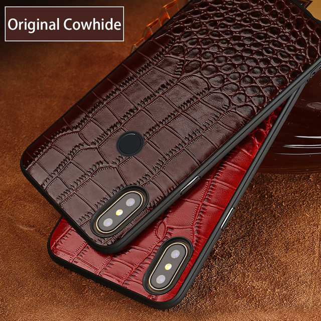 Cowhide Phone Case For Xiaomi Mi 9 6 8 SE 8 Explorer A2 Mix 2S Max 3 Redmi Note 7 Pocophone F1 Soft TPU Edge Genuine Leather