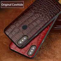 Cowhide Phone Case For Xiaomi Mi 9 6 8 SE 8 Explorer A2 Mix 2S Max 3 Redmi Note 7 Pocophone F1 Soft TPU Edge Genuine Leather