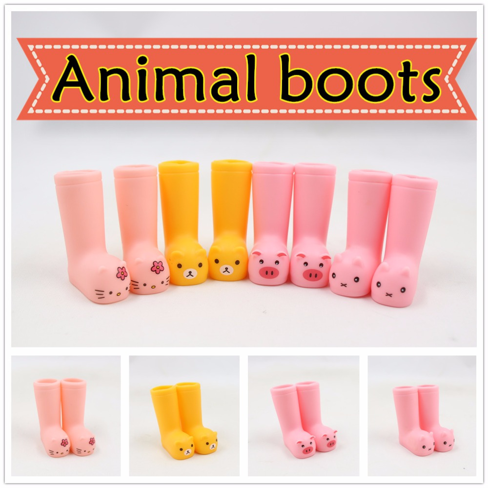 for blyth doll icy joint body animal boots 3cm*4cm cute plastic shoes rain boots цена и фото
