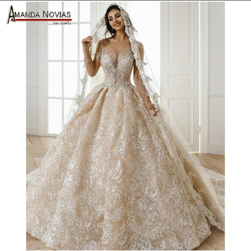Champagne Lace Wedding Gown: Full Lace Champagne Wedding Dress 2019 With Long Train