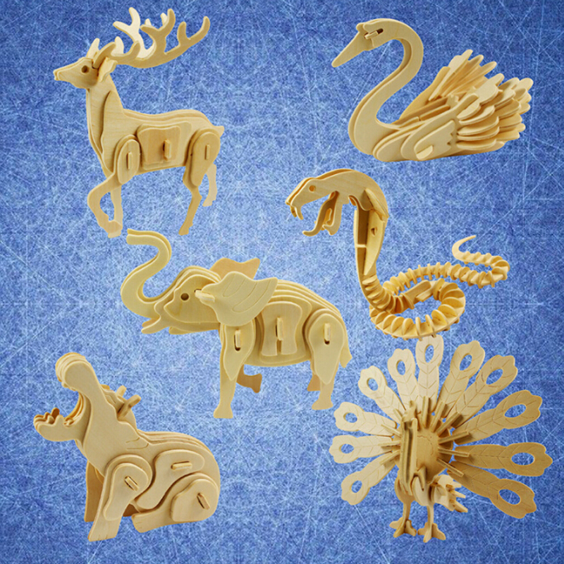 New Hot Sale 3D DIY Assembly Construction Jigsaw Puzzle Handmade Educational Woodcraft Lovely Deer Lion Wood Model Kit For Adult