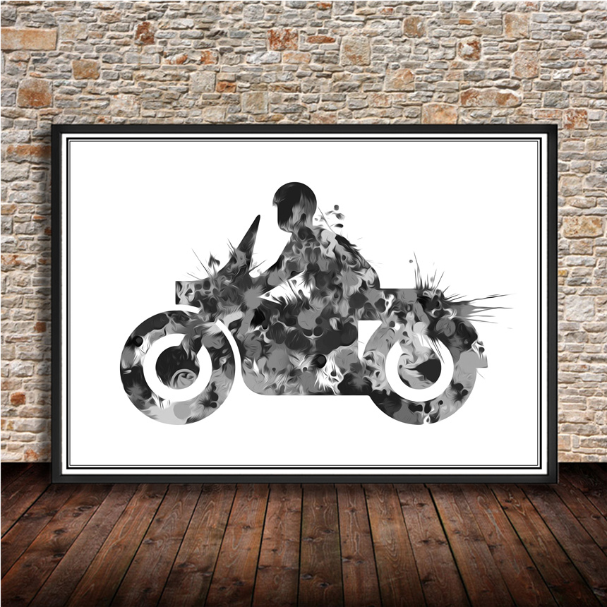 "Modern Poster ""motorcycle"" Home Living Room Bedroom Bar"