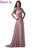 Dusty Rose Roze Lange Bruidsmeisjekleding 2017 Real Strapless Pleats Chiffon Bloemen Vrouwen Formele Beach Wedding Party Toga Custom