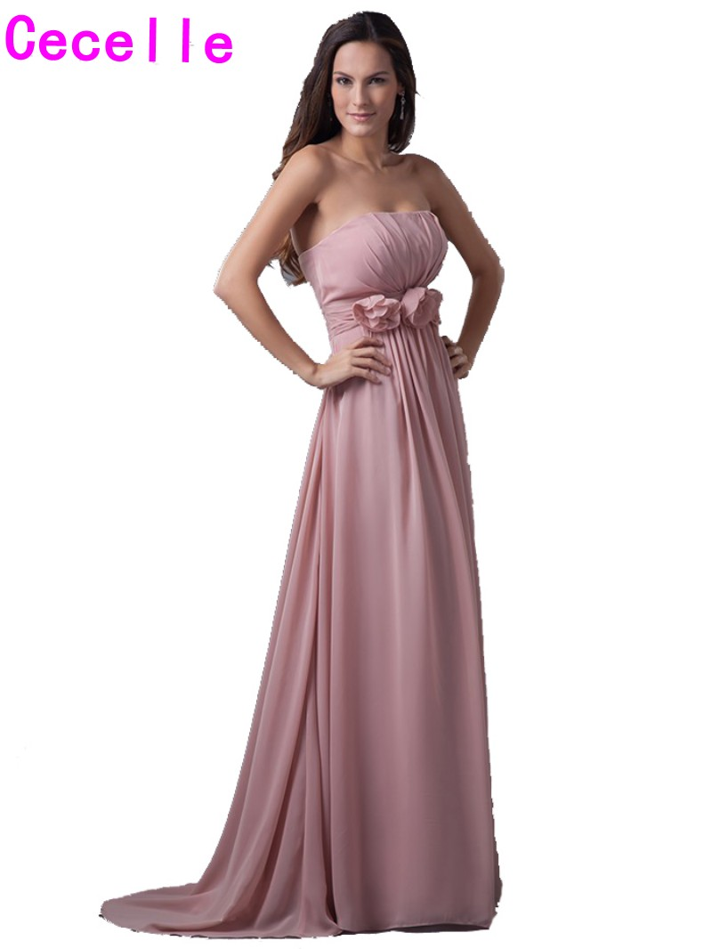 Dusty rose pink long bridesmaid dresses 2017 real for Long strapless wedding dresses