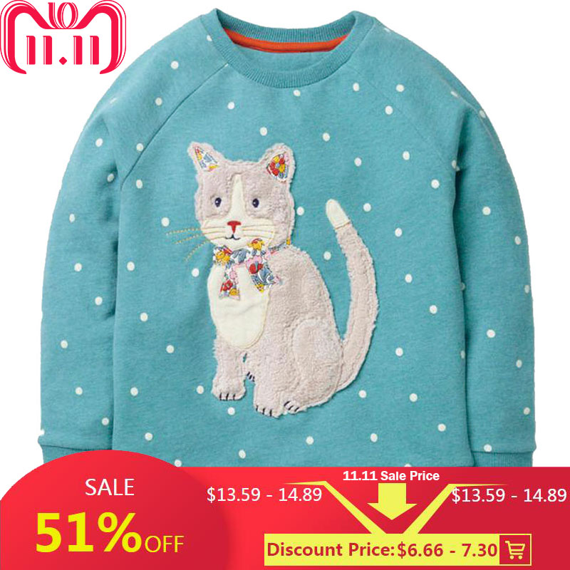 Girls Hoodies 2018 Baby Girl Clothes Winter Children Hoodies for Girls Sweatshirt with Animal Applique Kids Long Sleeve Tops vogue letter and animal print round neck long sleeve sweatshirt for women