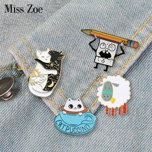 Funny animal enamel pin Cats sheep dinosaur badge brooch Lapel pin for Denim Jean shirt bag Cartoon Jewelry Gift for women kids(China)