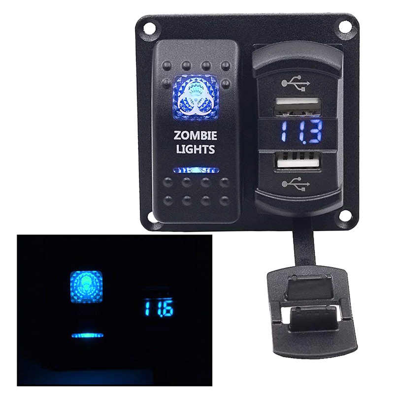 Waterproof Car Marine Boat 12V 24V On Off 2 Gang Rocker Switch Panel Blue LED Dual USB Volmeter Charger Zombie Lamp Switch