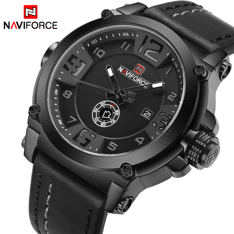 NAVIFORCE Men Analog Quartz Watches Top Brand  Fashion Sport Leather Military Waterproof Wrist watch Man Clock Relogio Masculino 2017 fashion stainless steel leather men s military sport analog quartz wrist watch men square casual watches relogio masculino