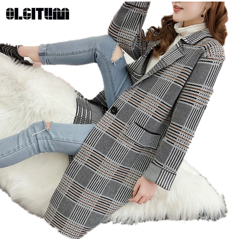 Women's Cardigan Coat Autumn Loose Plaid Knit Casual Female   Trench   Winter Turn-down Collar Ladies Sweater   Trench   TR094