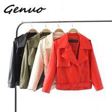 Genuo New Autumn Pu Motorcycle Faux Soft Leather Women Jacket Coat Turn-down Collar Long Sleeve Epaule Female Loose Short