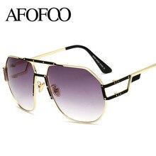 AFOFOO Fashion Sunglasses Men Women Brand Designer Oversized Gradient Sun glasses Clear Glasses Male Female UV400 Shades Eyewear