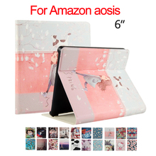 "Kindle oasis Flip PU Leather Case Cover 6"" E-reader E-book Colorful Print Ebook Protective Stand Skin For Amazon kindle oasis"
