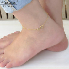 DIANSHANGKAITUOZHE Silver Gold Color Infinity Anklets for Women 2017 New Vintage Jewelry Barefoot Sandals Silver Bijoux Femme