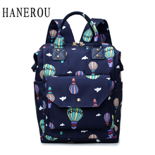 HANEROU Women Pockets Zipper Print Oxford Cloth Waterproof Fire Balloon Big Capacity Fashion Design Backpack Mochila Bagpack цена и фото