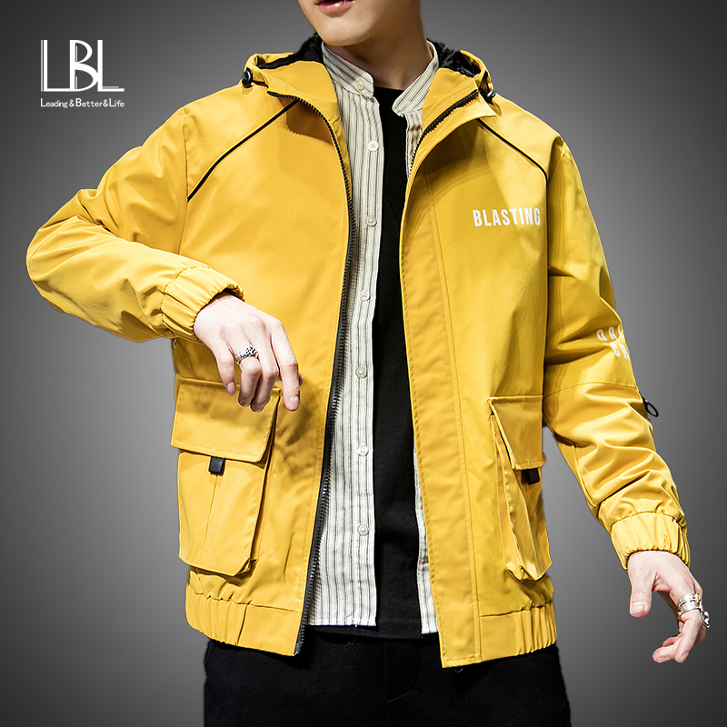 Mens Fashion Yellow Jacket 2019 Spring Autumn Casual Solid Ma 1 Zipper Bomber Jackets Overcoat Baseball Mens Thin Pilot Jackets