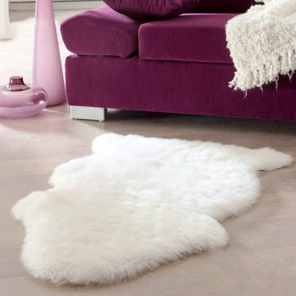 Super Soft Faux Sheepskin Chair Cover Warm Hairy Carpet Seat Pad Plain Skin Fur Plain Fluffy Area Rugs Washable Bedroom Mat