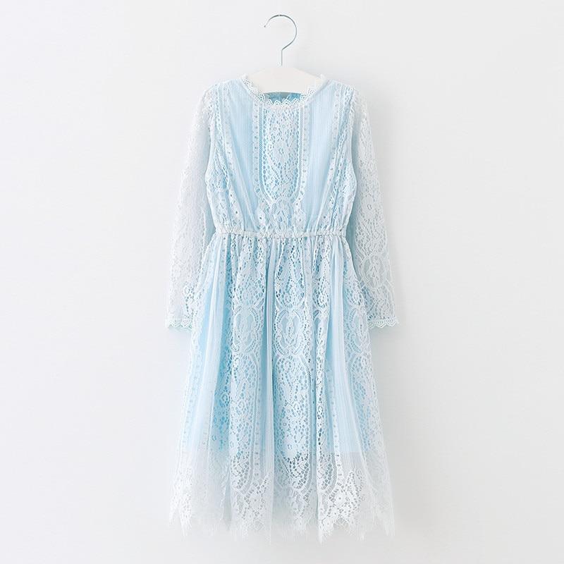 New Spring Autumn Vintage Lace Long Sleeve Baby Girl Princess Dress Vestidos Infantis Suit 7~15 Age Children Girls Dresses