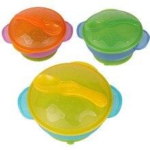 1 комплект, детская посуда, Детские Обучающие блюда с присоской, помощь в еде, чаша, ложка с датчиком температуры, детская чаша с присоской, набор