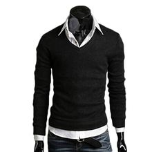 2017 New Arrival Men's Long-sleeved Cotton V-neck Sweater Fashion Slim Fit Knitted Pullover Solid Color Casual Male Sweater