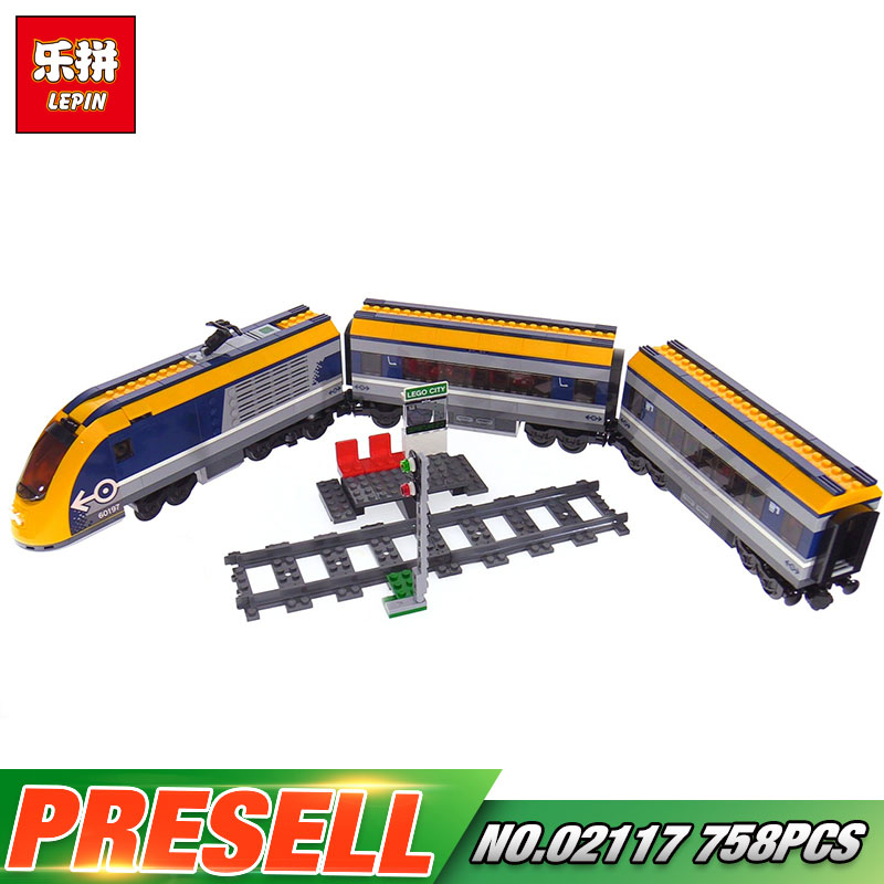 Lepin 02117 City Series The 60197 Passenger Train Set Building Blocks Bricks New Car Model Kids Toys As Birthday Christmas Gifts