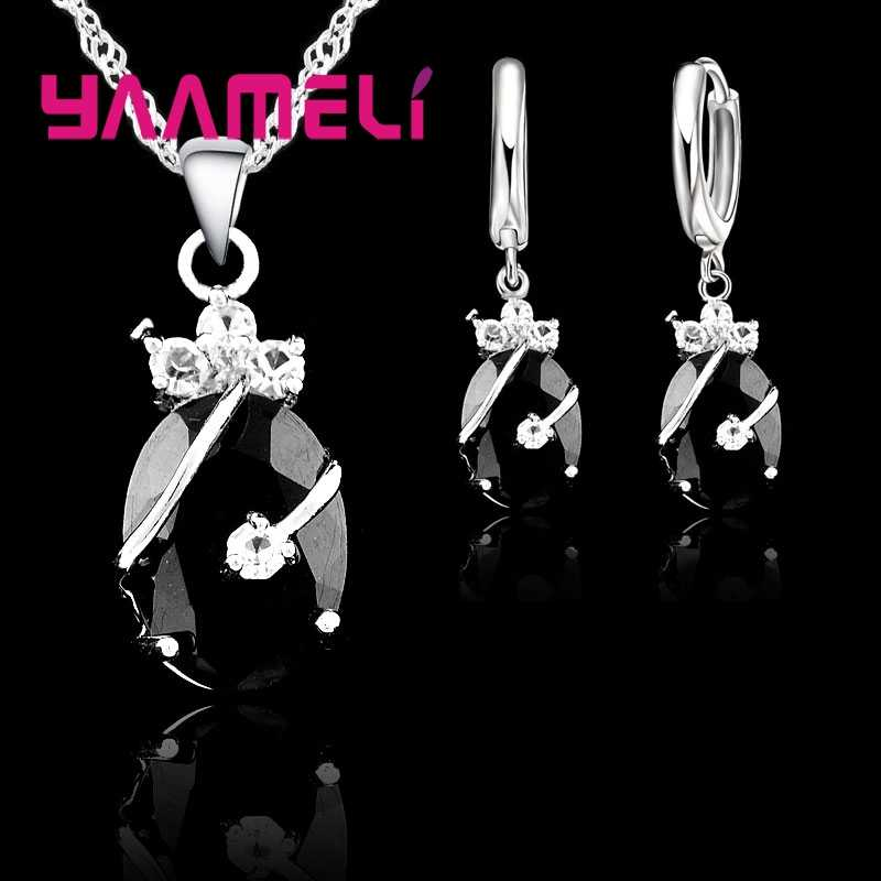 Vintage Jewelry Sets For Women 925 Sterling Silver Wedding Set Crystal Stone Pendant Charms Necklace Hoop Earrings