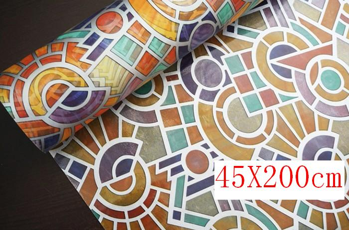 45*200cm Stained Vintage Roman Style Opaque Frosted Window Films Vinyl Static Cling Self adhesive Privacy Glass Stickers