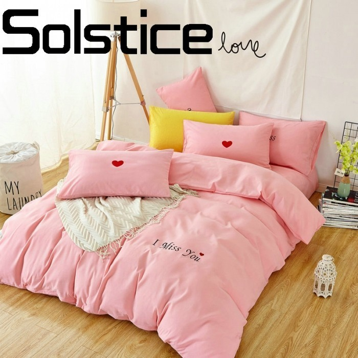 Solstice Home Textile 2018 Comfort Soft Wash Cotton Solid Bedding Bed Sheet Quilt Cover Pillowcase 3/4pcs