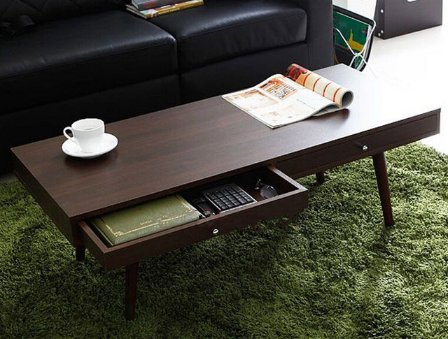 Modern Center Table With 2 Drawers Walnut Finish Living Room Design Rectangle Wooden Small