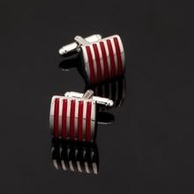 XK154 High quality men's shirts Cufflinks red striped Cufflinks brand of men's clothing accessories glazed craft style