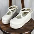 El Nuevo Japonés Harajuku Lolita Escuela Correas Cruzadas Mollete Zapatos de Suela Gruesa Amor Arco Zapatos Mujer Bombas
