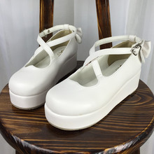 The New Japanese Harajuku Lolita School Cross Straps Thick Soled Shoes Love Muffin Bow Shoes Woman Pumps