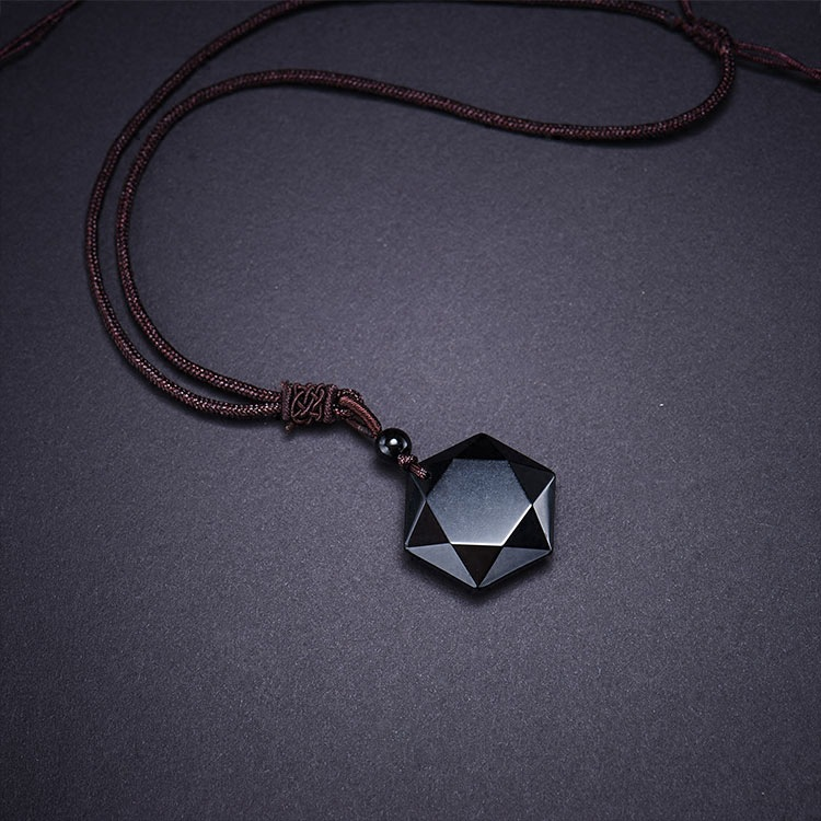 Bruce Accept Drop Shipping Natural Energy Stone Black Obsidian Six Stars Lucky Amulet Necklace Pendant Protect your safety Love 1