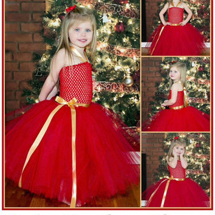 High quality newborn girls red christmas dresses baby girl party dress